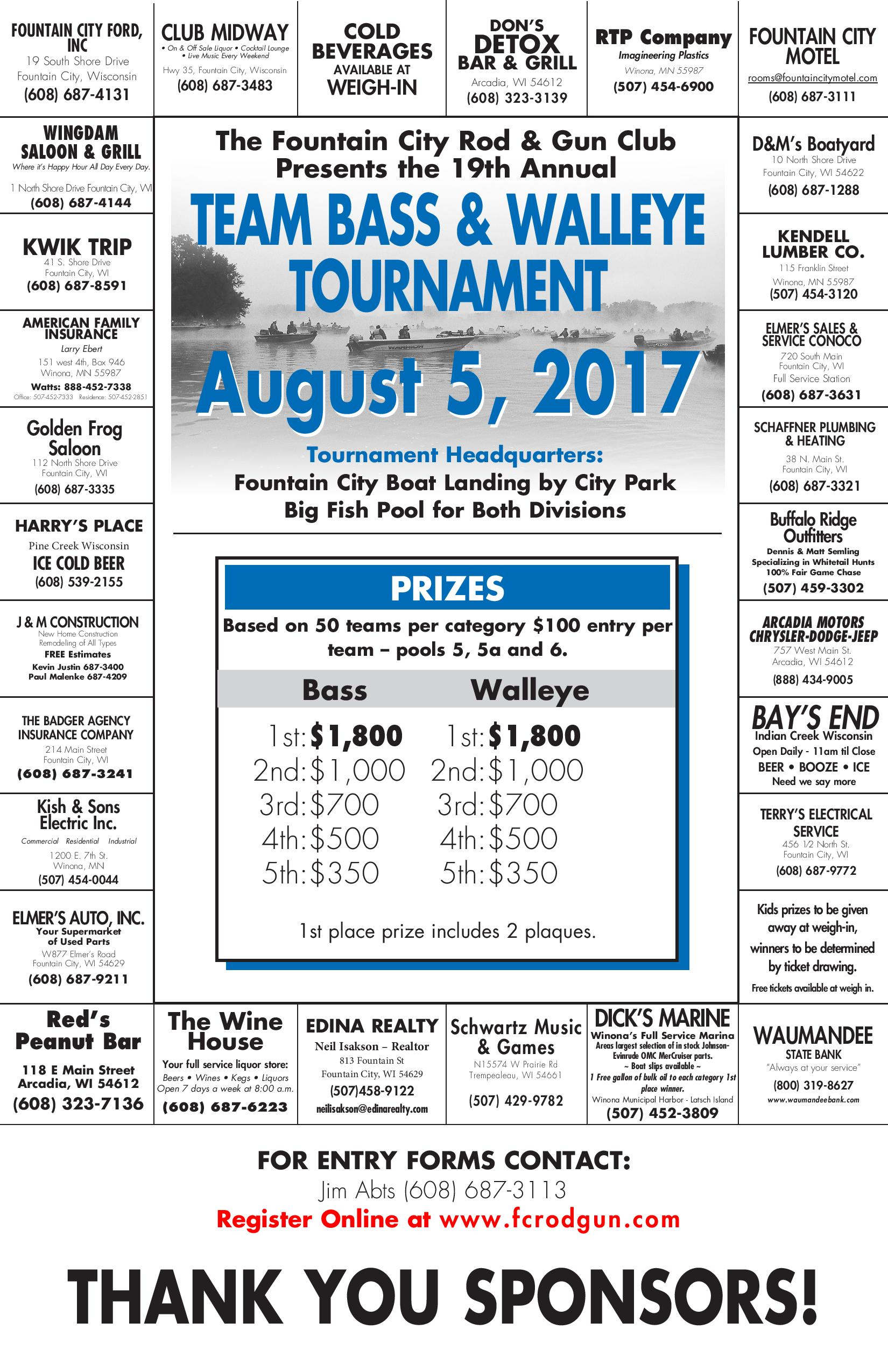 Walleye & Bass Fishing Tournament @ Fountain City Boat Landing