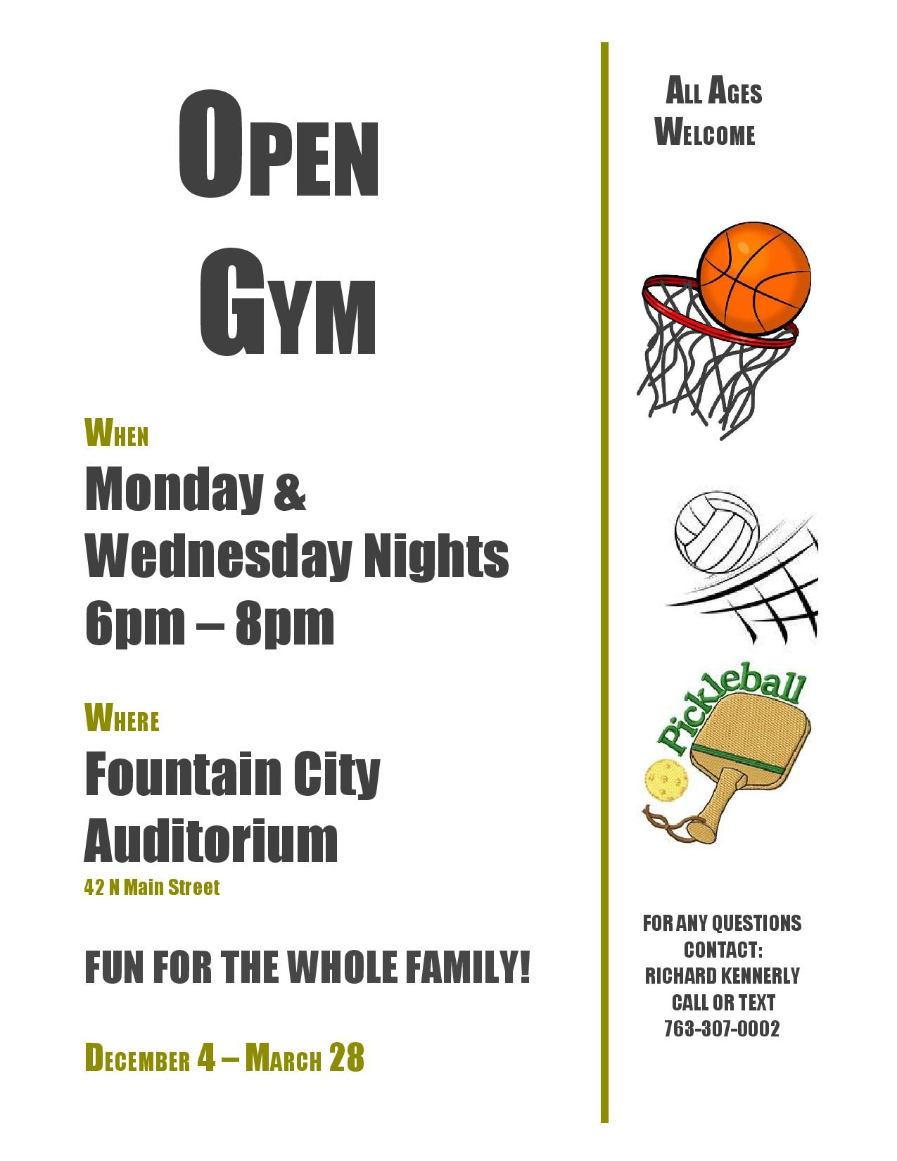 Open Gym Night @ Fountain City Auditorium | Fountain City | Wisconsin | United States