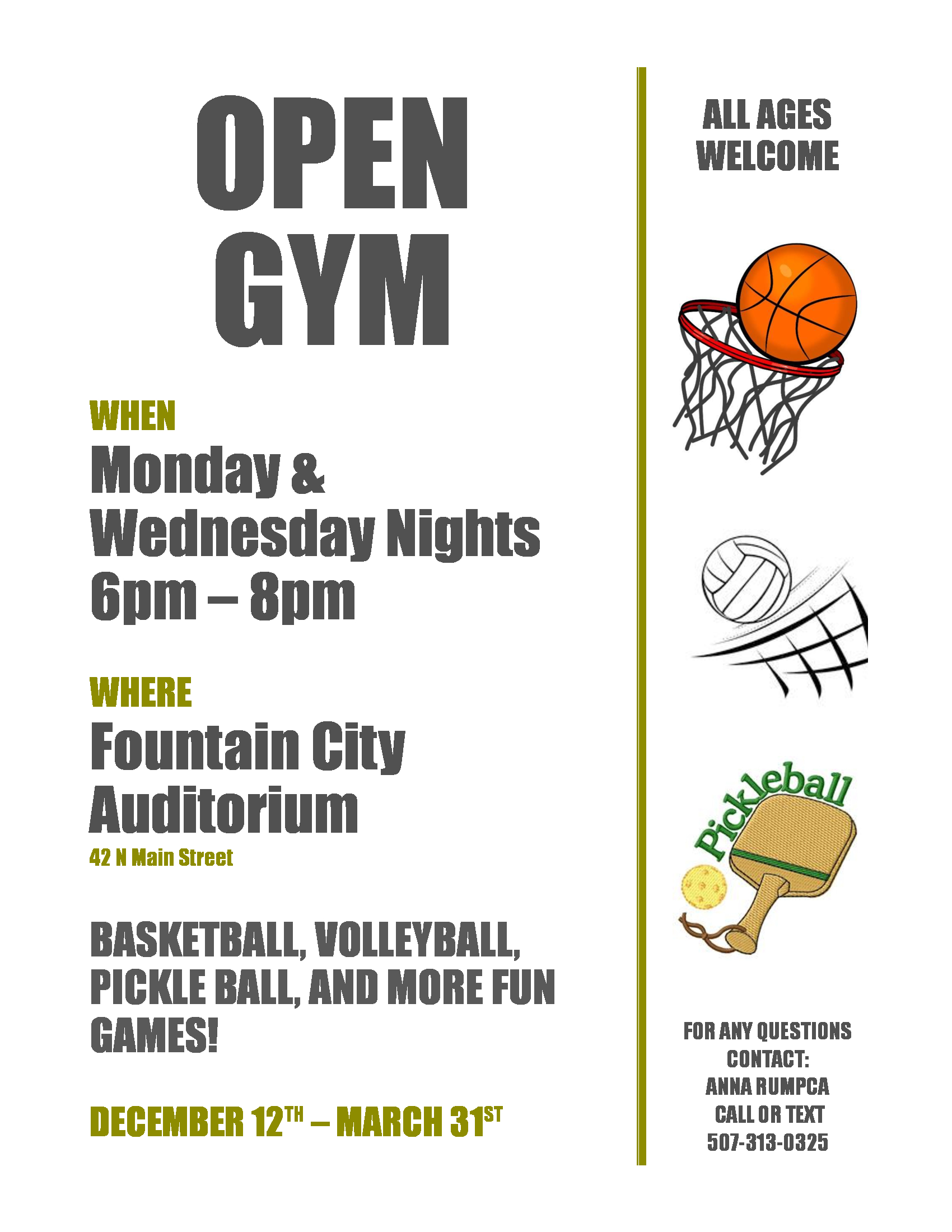Open Gym @ Fountain City Auditorium | Fountain City | Wisconsin | United States