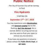 Hydrant Flushing September 17 – 21