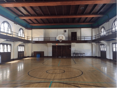 View of auditorium showing the whole gym
