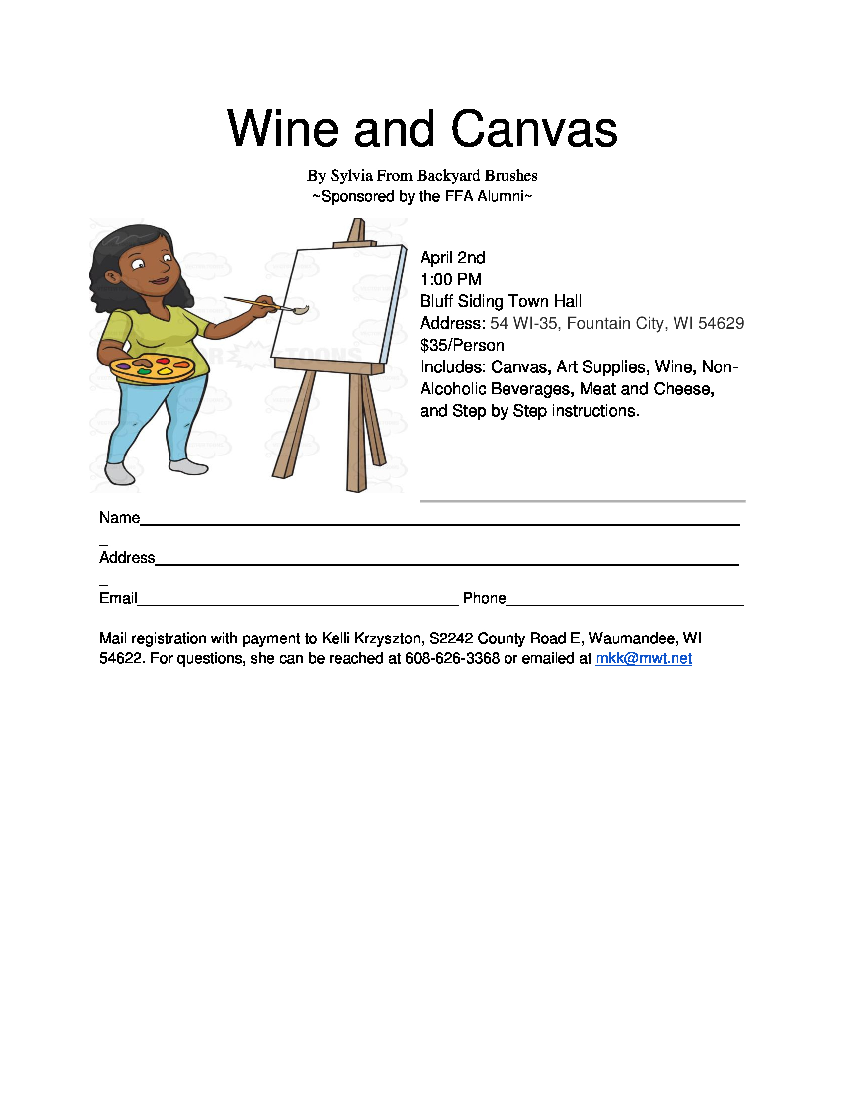 Wine & Canvas Fundraiser @ Bluff Siding Town Hall | Fountain City | Wisconsin | United States