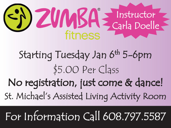 Zumba with Carla @ St Michael's Assisted Living | Fountain City | Wisconsin | United States