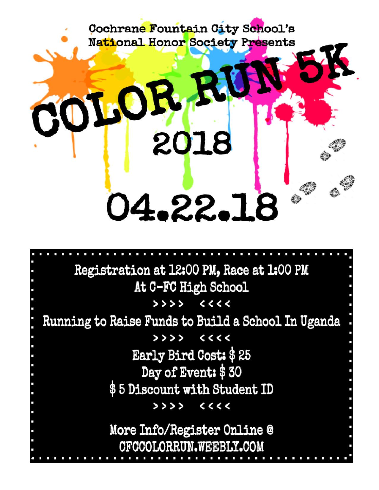 Color Run 5K @ Cochrane Fountain City School | Fountain City | Wisconsin | United States